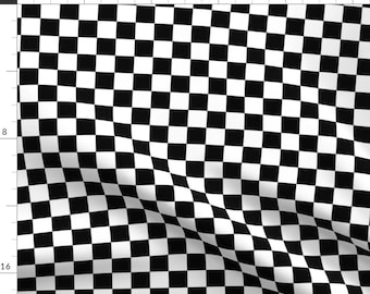 """Black and White Check Fabric - Checker By Vo_Aka_Virginiao - 1"""" Black and White Checkers Cotton Fabric By The Yard With Spoonflower"""