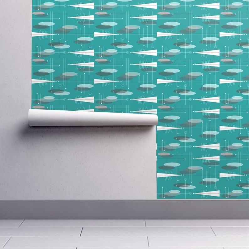 Circles Teal By Hot4tees Bg@Yahoo Com Mid Century Modern Wallpaper Custom Printed Removable Self Adhesive Wallpaper Roll by Spoonflower