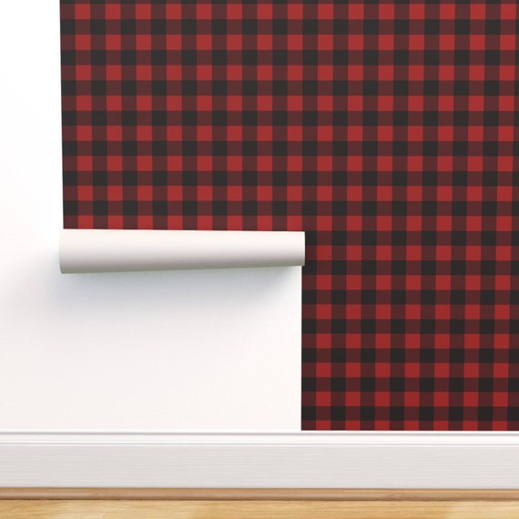 Peel-and-Stick Removable Wallpaper Black And White Plaid Rustic Check Buffalo