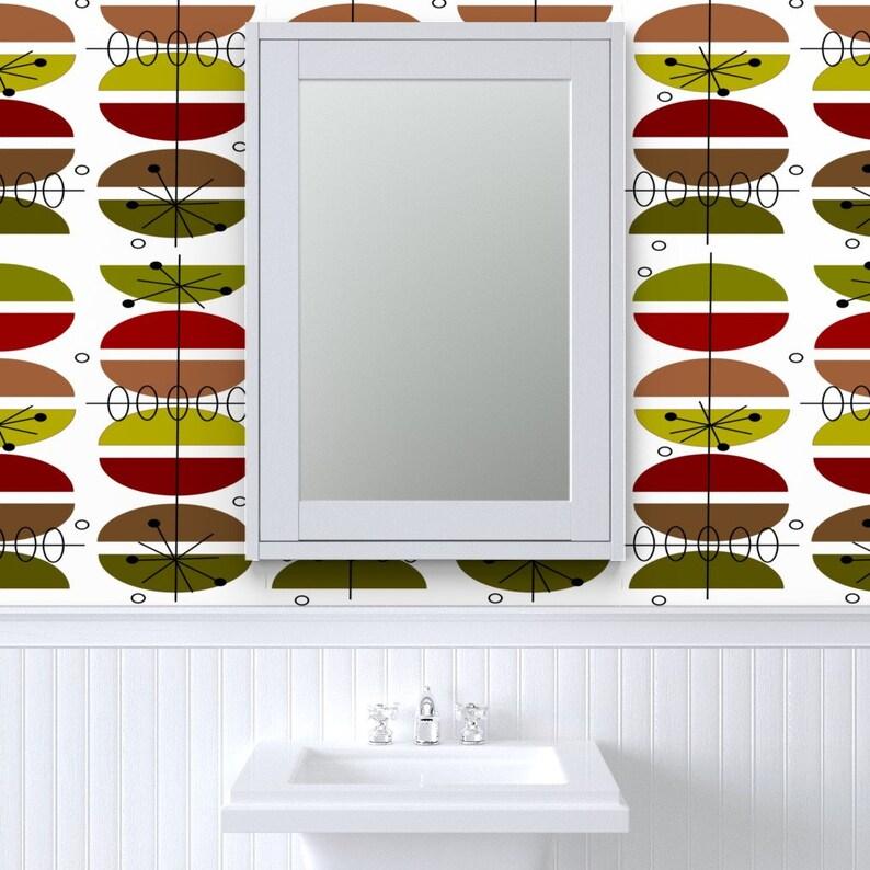 Geometric Custom Printed Removable Self Adhesive Wallpaper Roll by Spoonflower Mid-Century By Hot4tees Bg@Yahoo Com Atomic Wallpaper