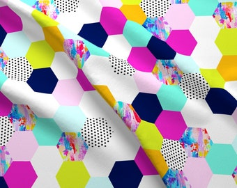 Colored And Patterned Shapes Fabric - Colorful Hexagon Cheater Quilt Wholecloth By Theartwerks - Cotton Fabric By The Yard With Spoonflower