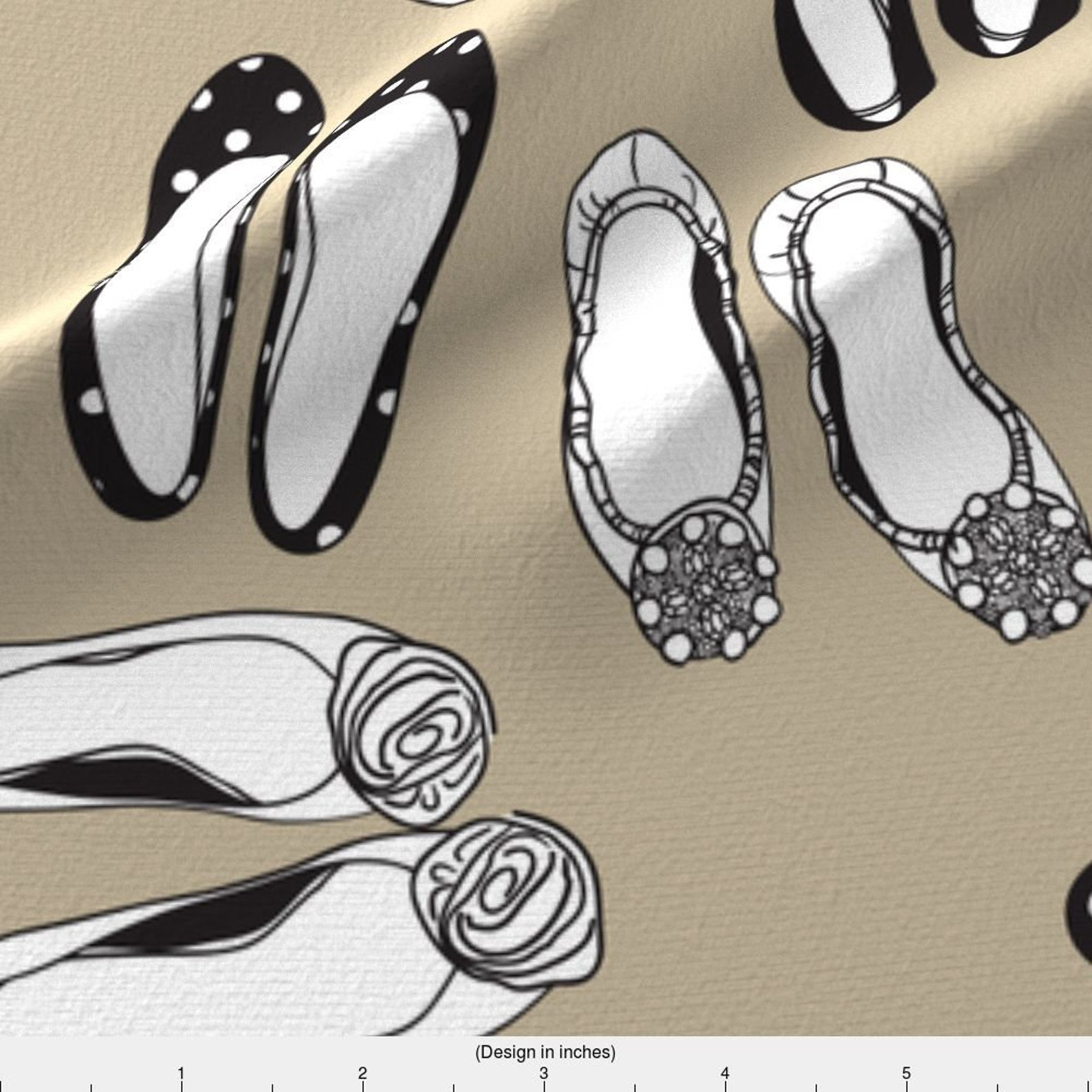 shoes fabric - ballet flats gray by winksmile - ballet flat fashion home decor cotton fabric by the yard with spoonflower