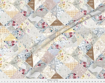 Cheater Quilt Fabric - 'Here Comes The Sun' Quilt By Nouveau Bohemian - Cheater Quilt Diamonds Cotton Fabric By The Yard With Spoonflower