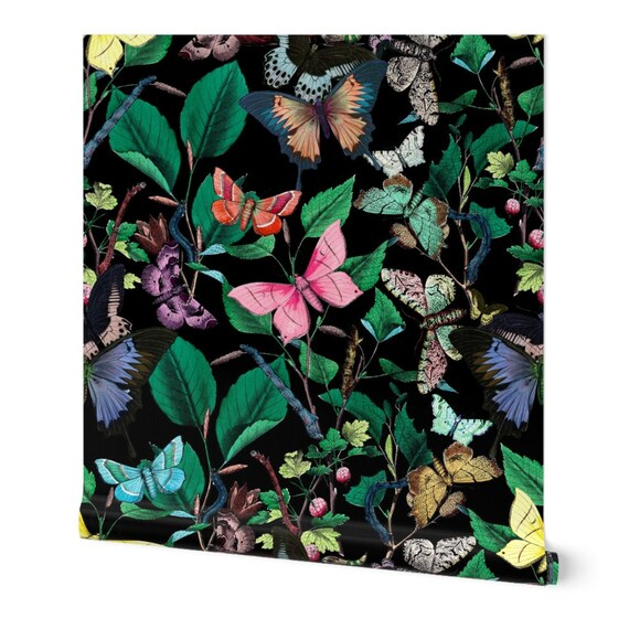 Butterfly Wallpaper Butterfly Sanctuary Bright~By Peacoquettedesigns ~ Custom Printed Removable Self Adhesive Wallpaper Roll by Spoonflower