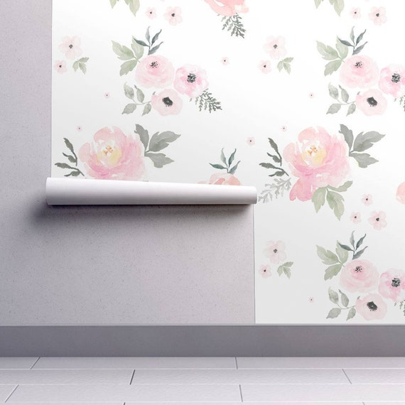 Floral Nursery Wallpaper Sweet Blush Roses By Shop Cabin Etsy
