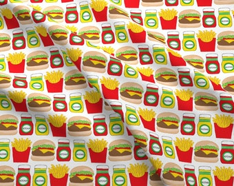 Burgers And Fries Fabric -Cheeseburger Fries Ketchup Mustard By Lilcubby- Burger Fries Condiments Cotton Fabric By The Yard With Spoonflower