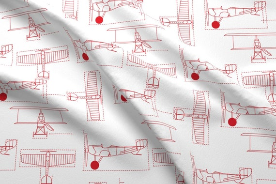 f5042a77b Airplane Fabric Red Flight School Blueprints By Holli