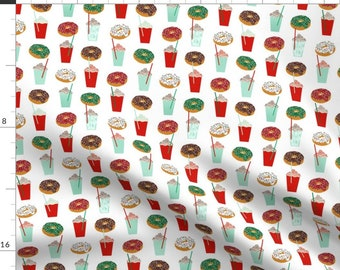 Christmas Donuts Fabric - Donuts And Coffee Christmas Holiday By Charlottewinter- Holiday Cotton fabric by the yard with Spoonflower