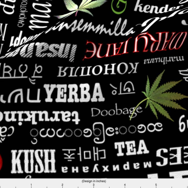 Marijuana Vocabulary Fabric - Marijuana Names By Camomoto - Black and Red  Weed Words Cotton Fabric By The Yard With Spoonflower