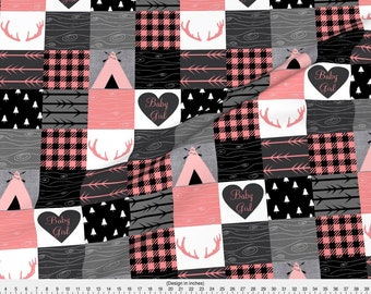 Baby Girl Fabric - Baby Girl Wholecloth - Pink, Gray, Black By Moonsheets - Baby Cheater Quilt Cotton Fabric By The Yard With Spoonflower