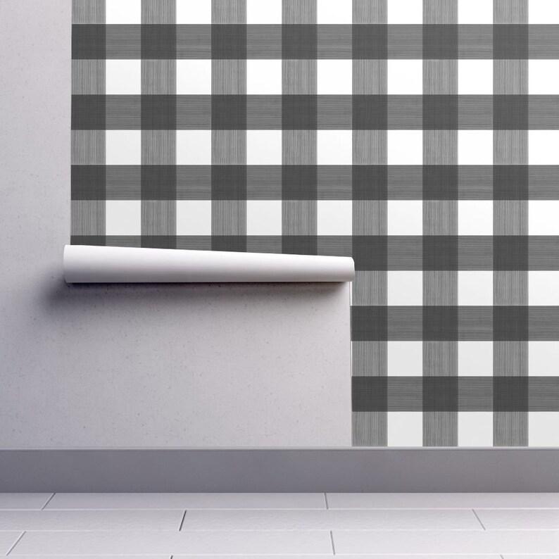 Custom Printed Removable Self Adhesive Wallpaper Roll by Spoonflower Black Buffalo Plaid Wallpaper Medium 3 Plaid By Danika Herrick