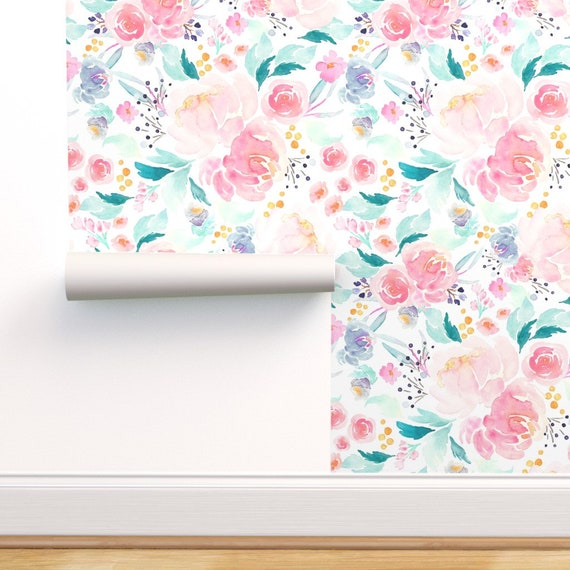 Blush Watercolor Floral Wallpaper Mermaid Lagoon By Indybloomdesign Custom Printed Removable Self Adhesive Wallpaper Roll By Spoonflower