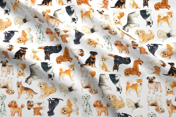 Dogs Fabric Dog Pattern By Silveroakdesign Watercolor Dogs Etsy