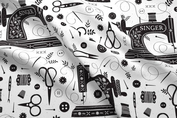 Sewing Machine Fabric Sew Vintage By Petite Circus Etsy Unique Vintage Sewing Machine Fabric
