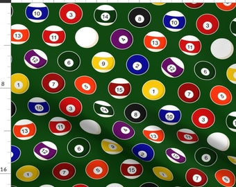 Billiards Fabric - Pool Balls Billiards By Jannasalak - Pool Balls Billiards Solids Stripes Green Cotton Fabric By The Yard With Spoonflower