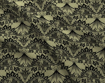 Stegosaurus Lace Fabric - Stegosaurus Lace - Black Gold By Andreaalice - Stegosaurus Dino Lace Cotton Fabric By The Yard With Spoonflower