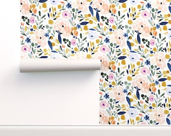 Watercolor Floral Wallpaper - Sierra Floral By Crystal Walen - Floral Custom Printed Removable Self Adhesive Wallpaper Roll by Spoonflower