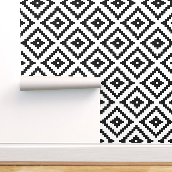Removable Water-Activated Wallpaper Harlequin Diamonds Geometric Squares Black