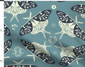 Lunar Moths Fabric - Nocturnal Moths Blue By Francisca Reyes - Blue Navy White Floral Symmetrical Cotton Fabric By The Yard With Spoonflower