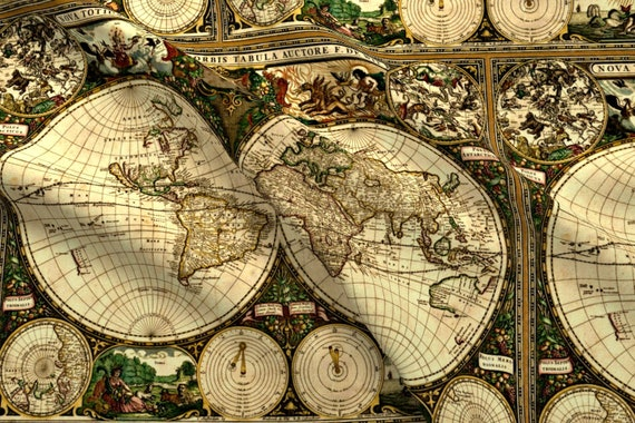 Old world map fabric old world map by whimzwhirled old etsy image 0 gumiabroncs Gallery
