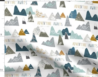 Mountain Fabric - Adventure Awaits Regular (White) By Nouveau Bohemian - Mountain Cotton Fabric By The Yard With Spoonflower