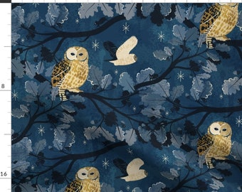 Owl Fabric - Room With A Woo By Appleyards - Owl Navy Blue Nighttime Bedtime Birds Beige Moon Cotton Fabric By The Yard With Spoonflower
