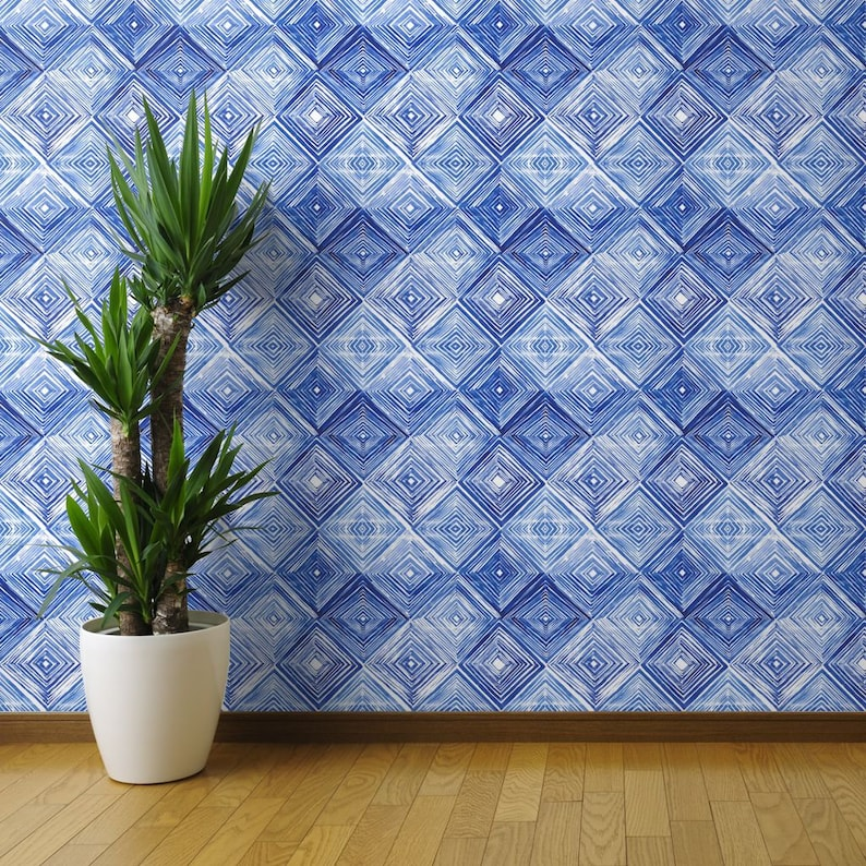 Rhombus By Tasiania Blue White Abstract Modern Custom Printed Removable Self Adhesive Wallpaper Roll by Spoonflower Shibori Wallpaper