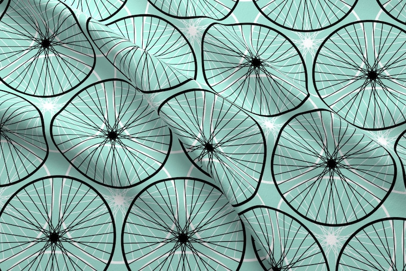 a79daacf53 Cycling Fabric Bicycle Wheel Silhouettes Mint By Sef