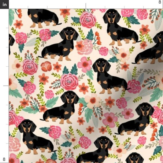 DACHSHUND WHITE Sewing Covering Curtain Home Deco Fabric 100/%Cotton 1Yard