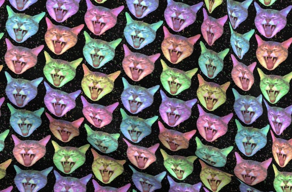 Classic Kitties Realistic Pussy Cats 100/% Cotton Linen Look Upholstery Fabric