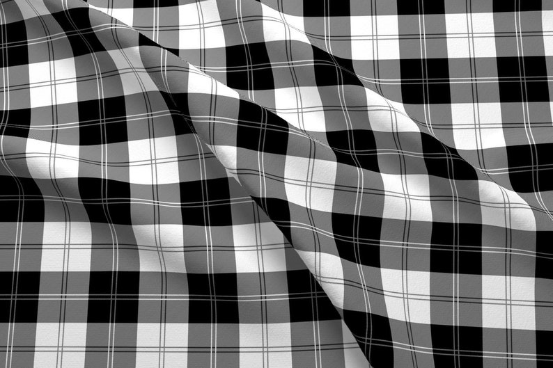 90s Plaid Fabric Ramsay Tartan Black And White By Elramsay Etsy