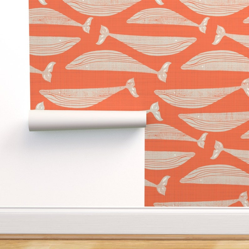 Whales Wallpaper  Whales On Orange By Gemmacosgroveball  image 0