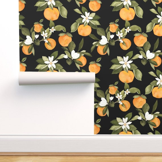 Custom Printed Removable Self Adhesive Wallpaper Roll by Spoonflower Blue Summer Blooms by Mint Peony Floral Wallpaper