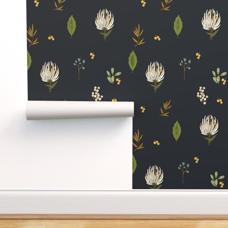 Botanical Wallpaper  Protea Natural Large By Holli Zollinger image 0