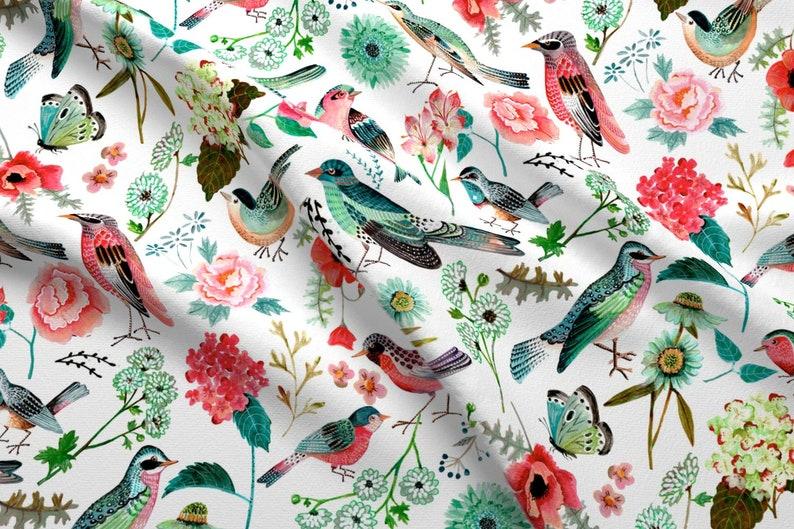 70083e7d4b Watercolor Birds Fabric Birds Flowers Pink Green Floral