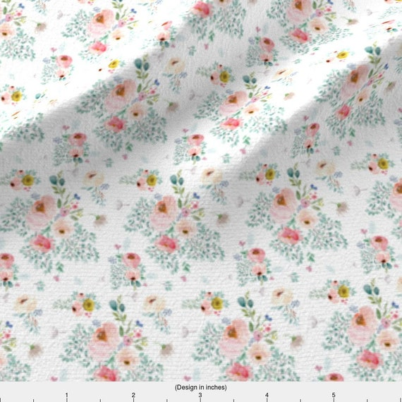 Dressmaking Fabric Floral Pale Pink Cotton Poplin Toile Roses Pink