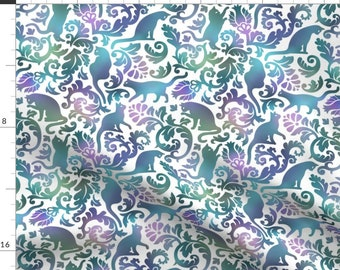 Cool Cat Fabric - Cats In The Garden - Gradient  By Mirabelleprint - Blue Green Purple Cat Damask Cotton Fabric By The Yard With Spoonflower