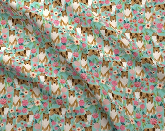 Rough Collie Dog Fabric - Rough Collie Dog Florals Vintage Flower By Petfriendly - Collie Dog Cotton Fabric by the Yard with Spoonflower