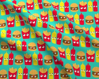 Cheeseburger and Fries Fabric - Fast Food By Heidikenney - Novelty Kitsch Fast Food Cotton Fabric By The Yard With Spoonflower Fabrics