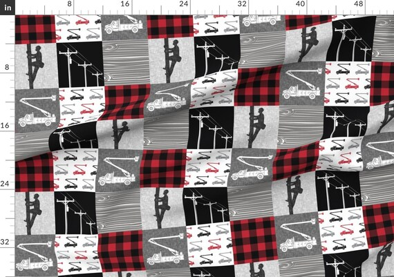Lineman Patchwork Buffalo Plaid Boys Construction Bucket Truck Red and Black Print on Fabric by The Yard Basketweave Cotton Canvas for Upholstery Home Decor Bottomweight Workers Squares Fabric