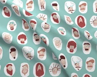 Mens Facial Hair Fabric - Mustaches And Beards By Daniellehanson - Hipster Novelty Mens Cotton Fabric By The Yard With Spoonflower