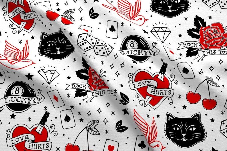 Tattoo Red Hearts Pattern Fabric Inked Rockabilly Tattoos | Etsy