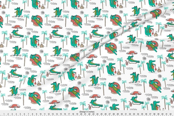 Cool Alligator Fabric Alligator Vacation Tropical Beach Gator Cute Animal By Andrea Lauren Cotton Fabric by the Yard with Spoonflower