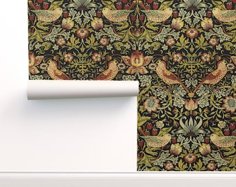 Vintage Wallpaper - Morris Strawberry Thief By Peacoquettedesigns - Custom Printed Removable Self Adhesive Wallpaper Roll by Spoonflower