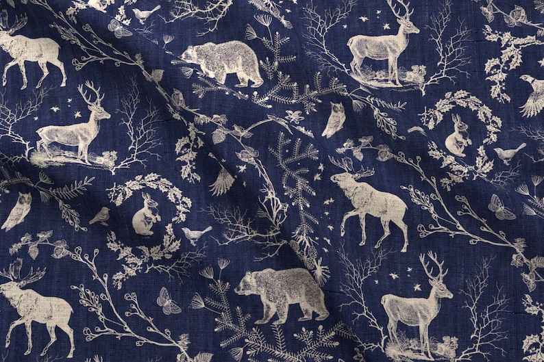 Toile Fabric - Winter Toile (In Navy Background) By Nouveau Bohemian - Deer  Stag Rabbit Owl Toile Cotton Fabric By The Yard With Spoonflower