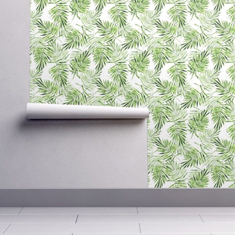 Palm Leaves Custom Printed Removable Self Adhesive Wallpaper Roll by Spoonflower Green Palm Leaves By Gribanessa Palm Leaves Wallpaper