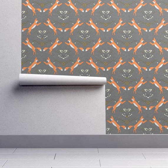Orange Grey Fox Wallpaper Foxen By Holli Zollinger Custom Etsy