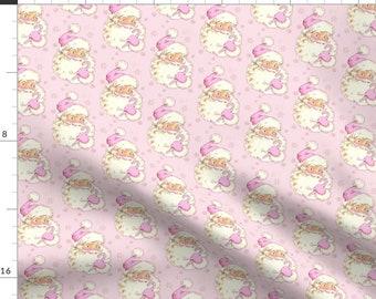 Pink Santa Fabric - Hi Santa! Christmas Light Pink! By Parisbebe - Vintage Santa Holiday Kitsch Cotton Fabric By The Yard With Spoonflower