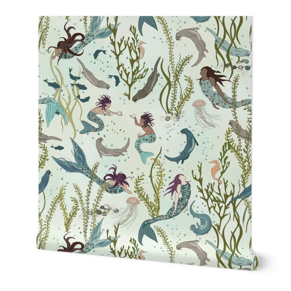 Removable Water-Activated Wallpaper Large Scale Mermaid Green Undersea Ocean