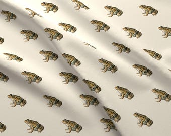 Toad Fabric - Leopard Frog, Off White By Turnbucklefarm - Frog Animal Amphibian Cotton Fabric By The Yard With Spoonflower
